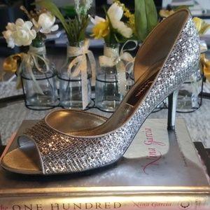"""Silver NINA """"FERN"""" D'Orsay Peep Toe Heels"""